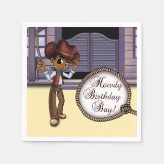 """Cowboy Birthday Paper Napkins"" Paper Napkin"