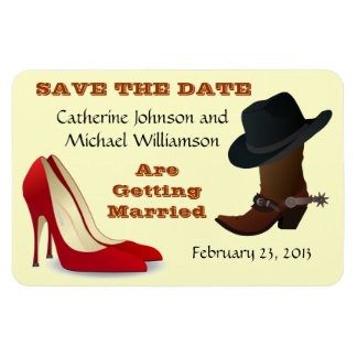 Cowboy Boot and High Heels Wedding Save The Date 1 Rectangular Photo Magnet