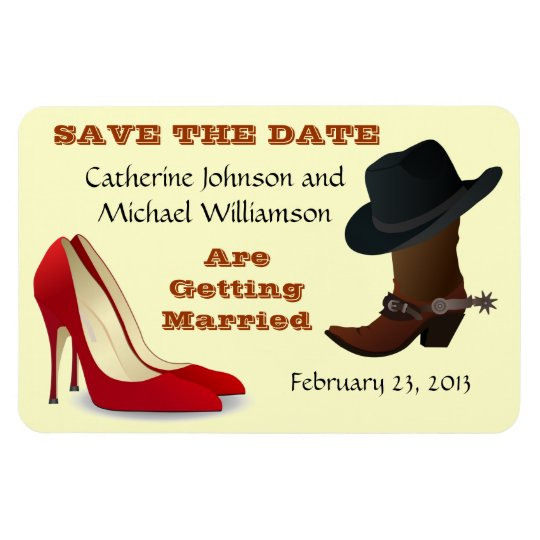 Cowboy Boot and High Heels Wedding Save The Date 1 Magnet