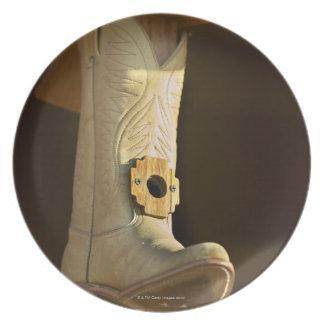 Cowboy boot bird house plate