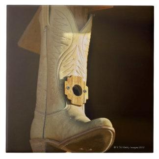 Cowboy boot bird house tile