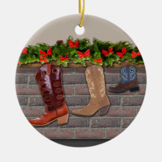 Cowboy Boot Stockings by the Fireplace Christmas Ornament