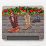 Cowboy Boot Stockings by the Fireplace Mousemats