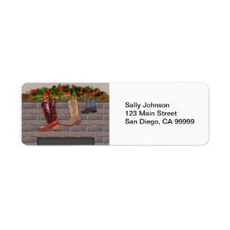 Cowboy Boot Stockings by the Fireplace Return Address Label