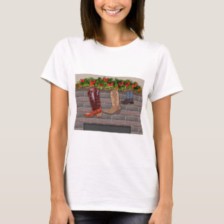 Cowboy Boot Stockings by the Fireplace T-Shirt