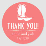 Cowboy Boot Thank You Labels (Coral / White) Round Sticker