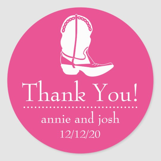 Cowboy Boot Thank You Labels (Dark Pink / White)