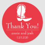 Cowboy Boot Thank You Labels (Red / White) Round Sticker