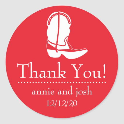 Cowboy Boot Thank You Labels (Red / White) Sticker
