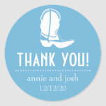 Cowboy Boot Thank You Labels (Sky Blue / White) Round Sticker