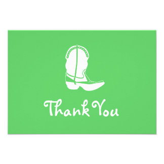 Cowboy Boot Thank You Note Cards (Lime Green)