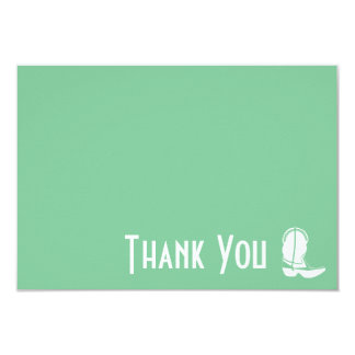 Cowboy Boot Thank You Note Cards (Mint Green) Invitation