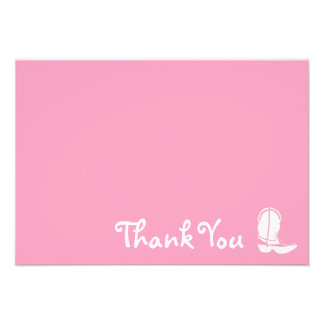 Cowboy Boot Thank You Note Cards (Pink) Personalized Announcements