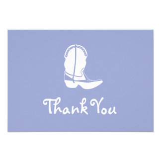 Cowboy Boot Thank You Note Cards (Purple) Personalized Invites