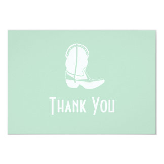Cowboy Boot Thank You Note Cards (Sage Green) Announcement