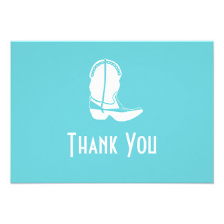 Cowboy Boot Thank You Note Cards (Teal)
