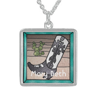 Cowboy Boot with Cactus Personalized Sterling Silv Square Pendant Necklace