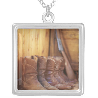 Cowboy boots 4 silver plated necklace