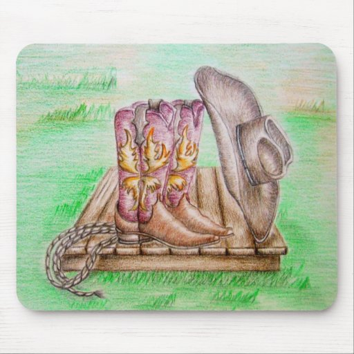 Cowboy Boots and Hat Mousepad