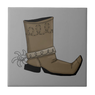 Cowboy Boots and Spurs - Stomping Western Humor Small Square Tile