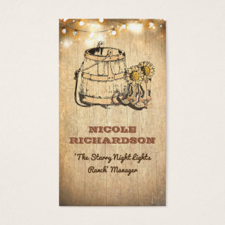 Cowboy Boots Barrel Sunflowers String Lights Wood Business Card