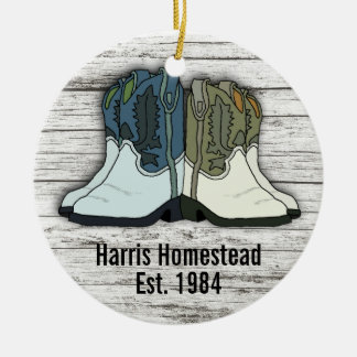 Cowboy Boots Country Homestead Established Christmas Ornament