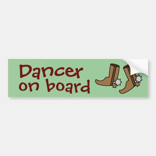 Cowboy Boots Country Western Line Dancer on Board Bumper Sticker
