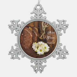 Cowboy Boots Daisies and Horse Bit Country Wedding Snowflake Pewter Christmas Ornament