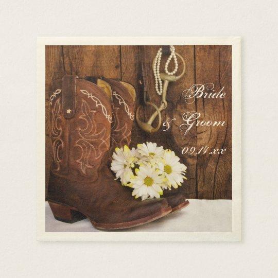 Cowboy Boots, Daisies and Horse Bit Ranch Wedding Disposable Serviette