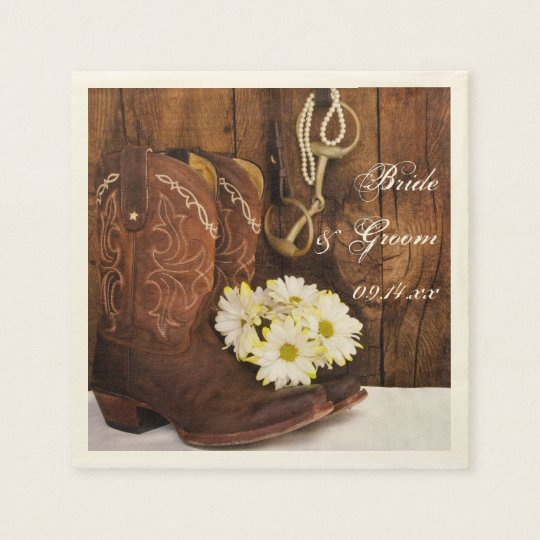 Cowboy Boots, Daisies and Horse Bit Ranch Wedding Paper Napkin