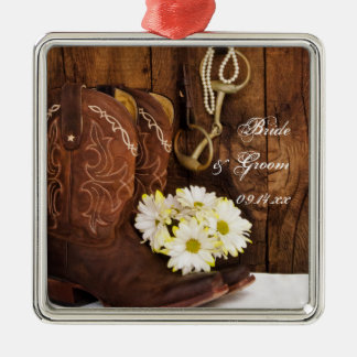 Cowboy Boots, Daisies Horse Bit Country Wedding Christmas Ornament