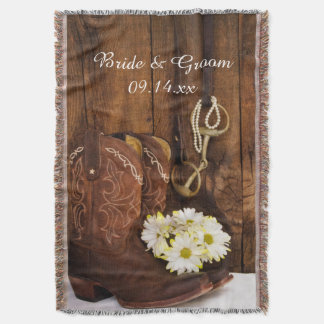 Cowboy Boots, Daisies Horse Bit Country Wedding Throw Blanket