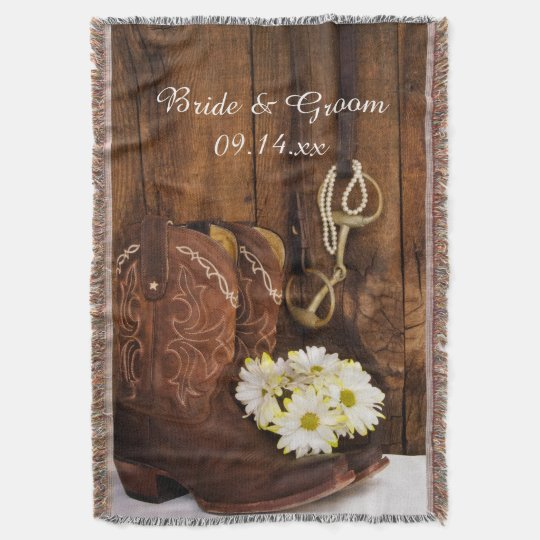 Cowboy Boots, Daisies Horse Bit Country Wedding Throw
