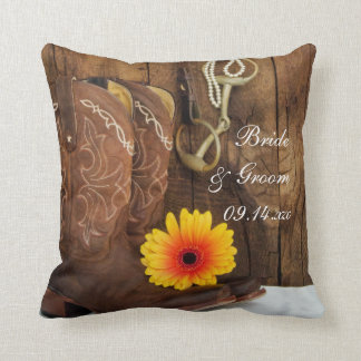 Cowboy Boots, Daisy and Horse Bit Country Wedding Cushion