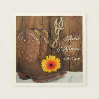 Cowboy Boots, Daisy and Horse Bit Country Wedding Paper Napkin