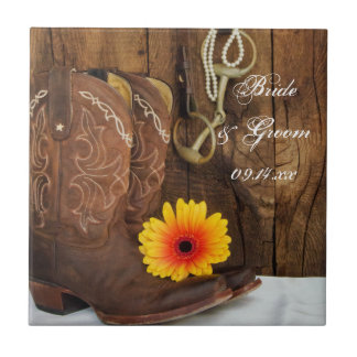 Cowboy Boots, Daisy and Horse Bit Country Wedding Tile