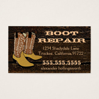 Cowboy Boots Old Wood Look Business Card
