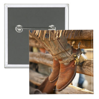 Cowboy boots on fence 2 15 cm square badge
