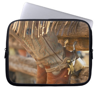 Cowboy boots on fence 2 laptop sleeves