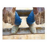 Cowboy boots on fence post card