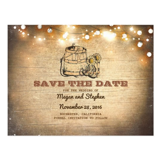 Cowboy Boots Rustic Country Save the Date Postcard