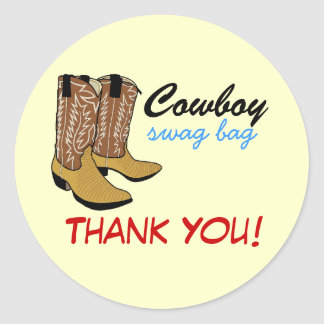 Cowboy Boots -Swag Thank You Classic Round Sticker