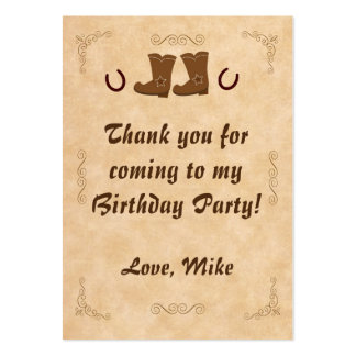 Cowboy Boots Thank You Tag Label Pack Of Chubby Business Cards