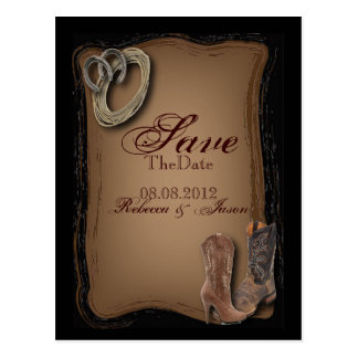 Cowboy Boots Western Country SaveTheDate Postcard