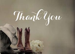Cowboy Boots Western Rustic Wedding Thank You Card