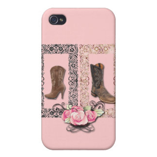 Cowboy Boots Western Wedding SaveTheDate iPhone 4 Cases