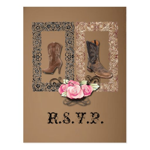 Cowboy Boots Western Wedding SaveTheDate Postcard