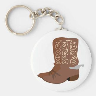 Cowboy Boots with Spurs Basic Round Button Key Ring