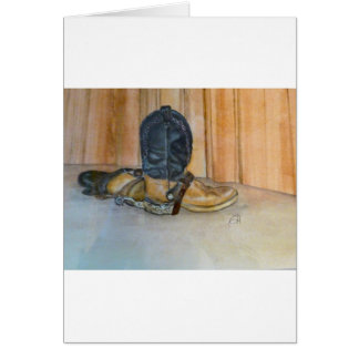 Cowboy boots with spurs card