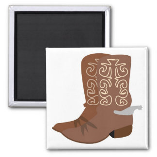 Cowboy Boots with Spurs Square Magnet